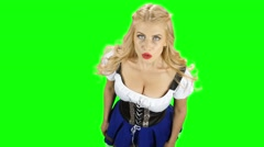Woman in bavarian national costume laughs. Green screen Stock Footage