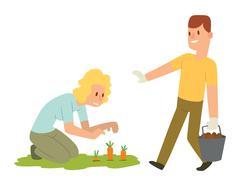 Garden harvest people vector character Piirros