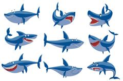 Vector shark character set Stock Illustration