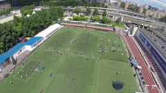 Aerial shot of sports festival at the stadium Stock Footage