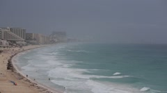 Cancun beach panorama view in bad weather Stock Footage