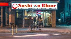 Sushi On Bloor Street Restaurant Timelapse Storefront 5k Stock Footage