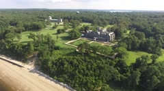 Aerial shot of Sands Point Preserve in NY, high pan closing in shot Stock Footage