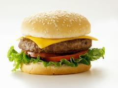 A Cheeseburger on a Sesame Seed Bun Stock Photos