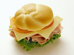Ham, Cheese, Lettuce and Tomato on a Kaiser Roll Stock Photos
