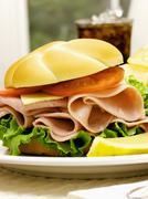 A Ham Sandwich on a Kaiser Roll Stock Photos