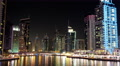 UHD 4K Dubai Marina night zoom out time lapse, United Arab Emirates Footage