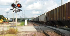 Railroad Crossing Signal - Flashing - Wide Shot - 4k Stock Footage