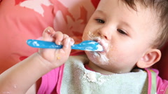 Messy Eating with Little Baby Stock Footage