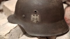 Nazi army helmet of second world war Stock Footage