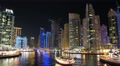 UHD 4K Dubai Marina night zoom in time lapse, United Arab Emirates Footage