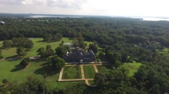 Aerial shot of Sands Point Preserve in NY, flying over and down shot Stock Footage