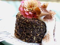 Chocolate Nut Custard with Cream Stock Photos