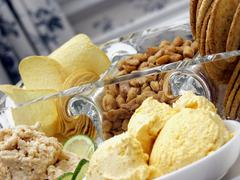 Assorted Dips with Munchies Stock Photos