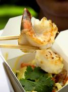 Asian Shrimp on a Chopstick Stock Photos