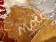 Almond biscuits with the word Noel Stock Photos