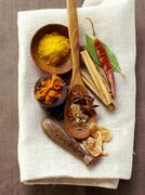 Still life with exotic spices Stock Photos