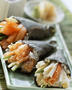Assorted Temaki sushi with salmon and crabmeat Stock Photos
