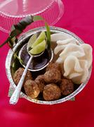 Thai meatballs with krupuk and soy sauce Stock Photos