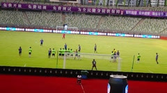 Football match at Baoan Shenzhen Stadium Stock Footage