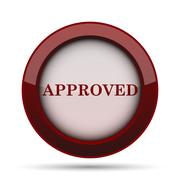 Approved icon. Internet button on white background. . Stock Illustration