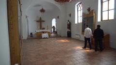 Tourists Visiting an Old Ukrainian Churche Stock Footage