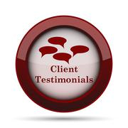 Client testimonials icon. Internet button on white background. . Stock Illustration
