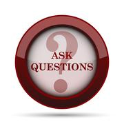 Ask questions icon. Internet button on white background. . Stock Illustration