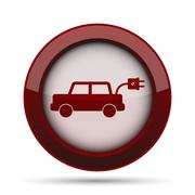 Electric car icon. Internet button on white background. . Stock Illustration