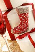 Christmas decoration: red boot and gift boxes Stock Photos