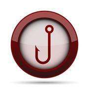 Fish hook icon. Internet button on white background. . Stock Illustration