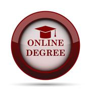 Online degree icon. Internet button on white background. . Stock Illustration