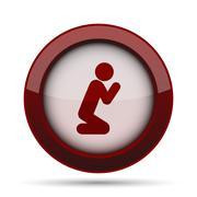 Prayer icon. Internet button on white background. . Stock Illustration