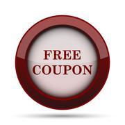Free coupon icon. Internet button on white background. . Stock Illustration