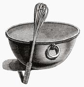 Mixing bowl with whisk (illustration) Stock Illustration