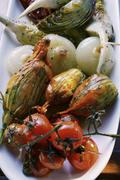 Antipasti platter of marinated vegetables Stock Photos