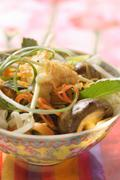 Rice noodles with freshwater crayfish and Thai basil Stock Photos