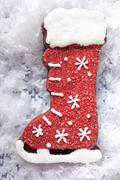 Decorated chocolate boot for Christmas Stock Photos