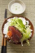 Raw tuna fillet with poppy seeds, rice and salad Stock Photos