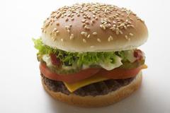 Cheeseburger with tomato, lettuce, ketchup and mayonnaise Stock Photos