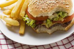 Cheeseburger, bites taken, with chips Stock Photos