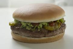 Hamburger with gherkin, lettuce and ketchup Stock Photos
