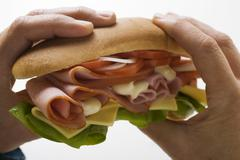 Hands holding ham and cheese sub sandwich Stock Photos