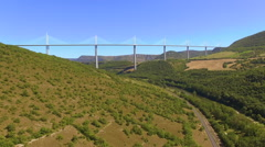 Flying Up Millau Viaduct Stock Footage