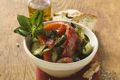 Antipasti from Liguria with bread and olive oil Stock Photos