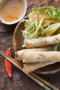 Spring rolls with salad and sweet and sour sauce (Thailand) Stock Photos