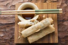 Spring rolls with soy sauce (Thailand) Stock Photos