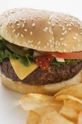 Cheeseburger with potato crisps Stock Photos