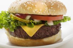Cheeseburger with tomato, onions and gherkin Stock Photos