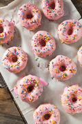 Homemade Sweet Donuts with Pink Frosting Stock Photos